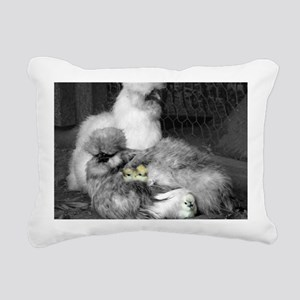 Black and White Silkie C Rectangular Canvas Pillow