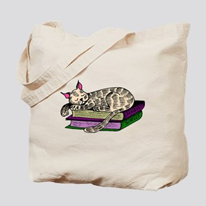 Cat Sleeping On Books Tote Bag
