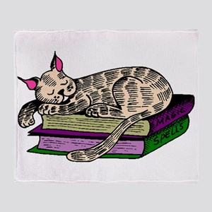 Cat Sleeping On Books Throw Blanket
