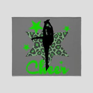 Green Cheerleader Throw Blanket
