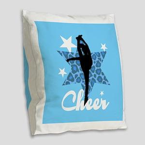 Blue Cheerleader Burlap Throw Pillow