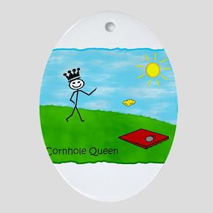 Stick Person (Cornhole Queen) Oval Ornament