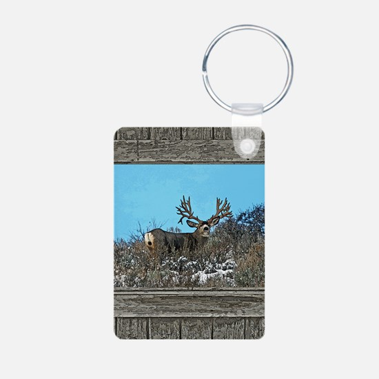 Old Cabin Window Monster b Aluminum Photo Keychain