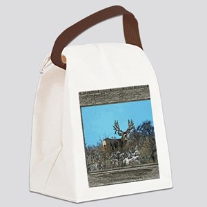 Old Cabin Window Monster buck 7 Canvas Lunch Bag