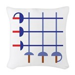 Fencing Swords Grid Woven Throw Pillow