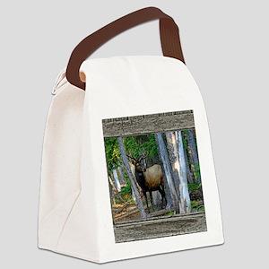 Old Cabin Window bull elk 1 Canvas Lunch Bag