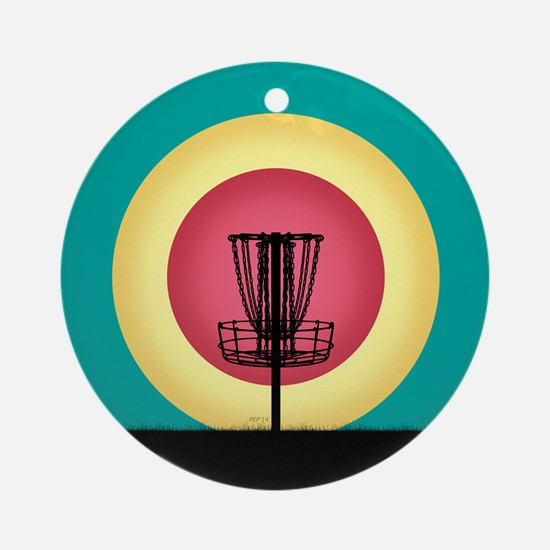 Disc Golf Basket Silhouette Ornament (Round)