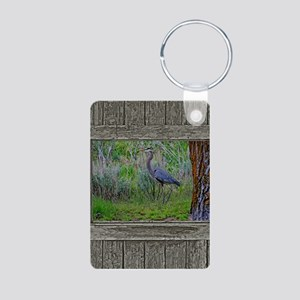 Old Cabin Window blue hero Aluminum Photo Keychain