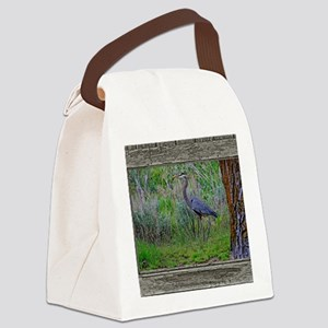 Old Cabin Window blue heron Canvas Lunch Bag