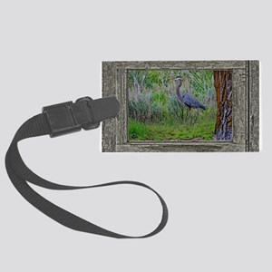 Old Cabin Window blue heron Large Luggage Tag
