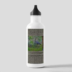 Old Cabin Window blue Stainless Water Bottle 1.0L