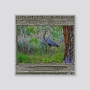 "Old Cabin Window blue heron Square Sticker 3"" x 3"""