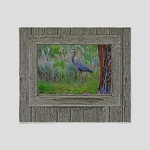 Old Cabin Window blue heron Throw Blanket