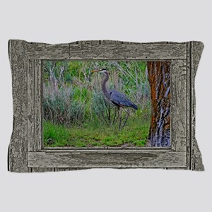 Old Cabin Window blue heron Pillow Case