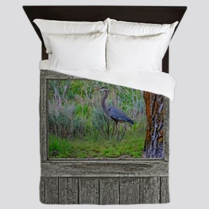 Old Cabin Window blue heron Queen Duvet