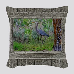 Old Cabin Window blue heron Woven Throw Pillow