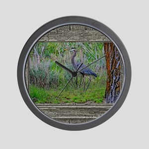 Old Cabin Window blue heron Wall Clock