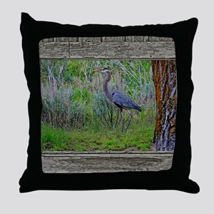 Old Cabin Window blue heron Throw Pillow