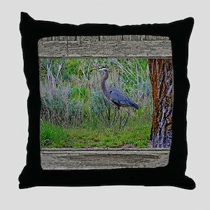 Old Cabin Window blue heron Throw Pillow