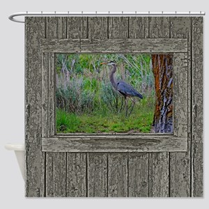 Old Cabin Window blue heron Shower Curtain