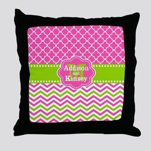 Pink Green Chevron Quatrefoil Personalized Throw P