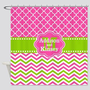 Pink Green Chevron Quatrefoil Personalized Shower
