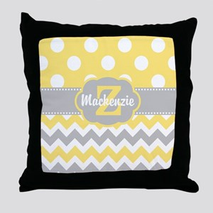 Gray Yellow Dots Chevron Personalized Throw Pillow
