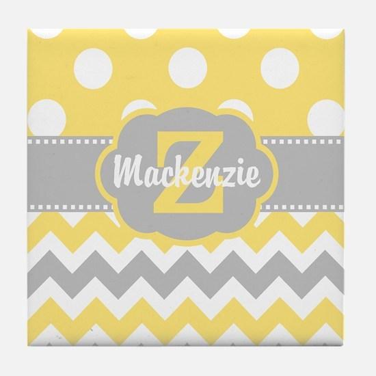 Gray Yellow Dots Chevron Personalized Tile Coaster