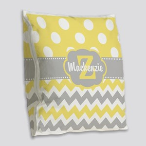 Gray Yellow Dots Chevron Personalized Burlap Throw