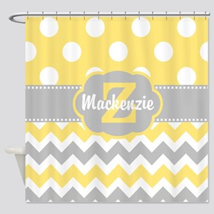 Gray Yellow Dots Chevron Personalized Shower Curta