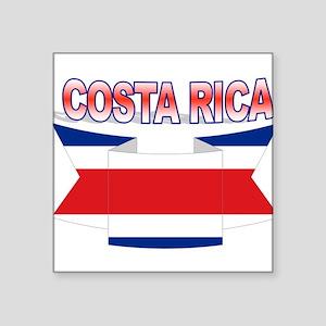 """Costa Rica Flag Ribbon Square Sticker 3"""" x 3"""""""