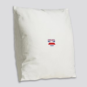 Costa Rica Flag Ribbon Burlap Throw Pillow