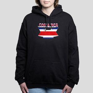 Costa Rica Flag Ribbon Women's Hooded Sweatshirt