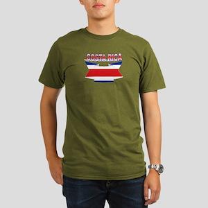 Costa Rica Flag Ribbo Organic Men's T-Shirt (dark)