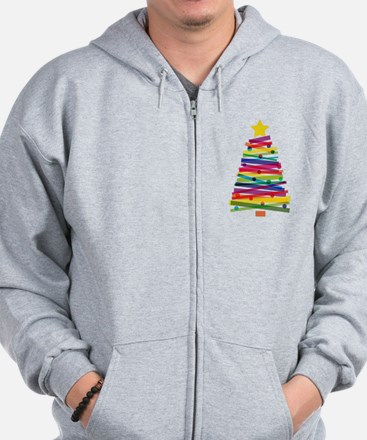 Colorful Christmas Tree Zip Hoodie