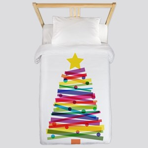 Colorful Christmas Tree Twin Duvet