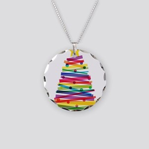 Colorful Christmas Tree Necklace Circle Charm