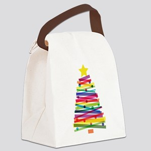 Colorful Christmas Tree Canvas Lunch Bag