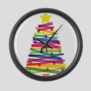 Colorful Christmas Tree Large Wall Clock