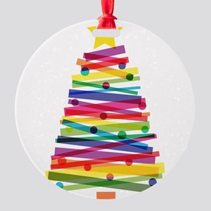 Colorful Christmas Tree Round Ornament