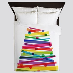 Colorful Christmas Tree Queen Duvet