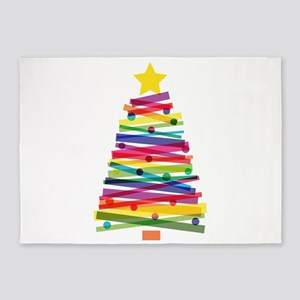 Colorful Christmas Tree 5'x7'Area Rug