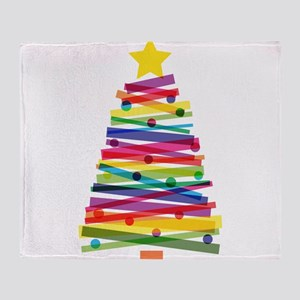 Colorful Christmas Tree Throw Blanket
