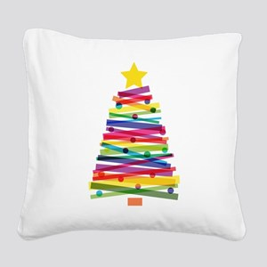 Colorful Christmas Tree Square Canvas Pillow