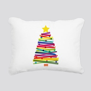 Colorful Christmas Tree Rectangular Canvas Pillow