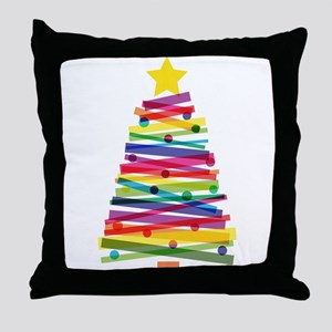 Colorful Christmas Tree Throw Pillow