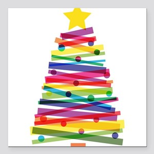"Colorful Christmas Tree Square Car Magnet 3"" x 3"""