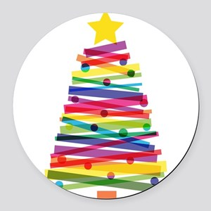 Colorful Christmas Tree Round Car Magnet