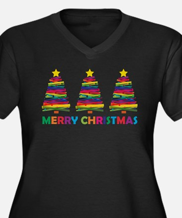 Colorful Christmas Tree Plus Size T-Shirt