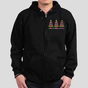 Colorful Christmas Tree Zip Hoodie (dark)